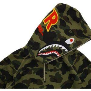 BAPE Ultimate 1st Camo PONR Shark Half Zip Raglan Pullover Hoodie Green