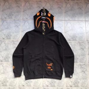 BAPE x Undefeated Double Shark Full Zip Hoodie Black