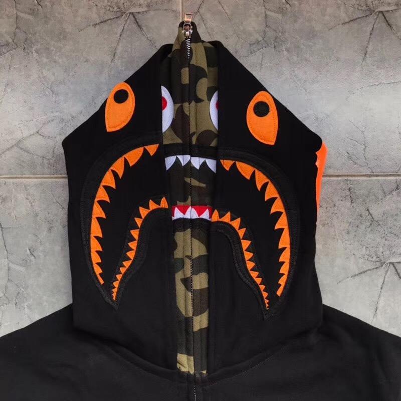 BAPE x Undefeated Double Shark Full Zip Hoodie Black