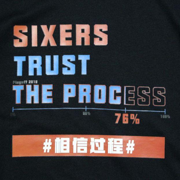 Phila Sixers Trust The Process Black Tee-1