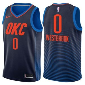 2017-18 Russell Westbrook Oklahoma City Thunder #0 Statement Navy