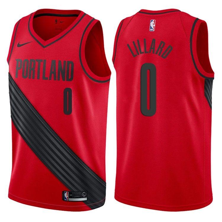 2017-18 Damian Lillard Portland Trail Blazers #0 Statement Red