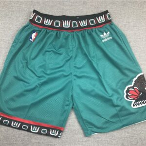 Vancouver Grizzlies Green Throwback Basketball Shorts Embroidered