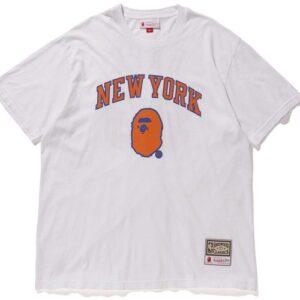 BAPE x Mitchell & Ness Knicks Tee White
