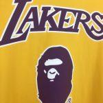 BAPE x Mitchell & Ness Lakers Tee Yellow-2