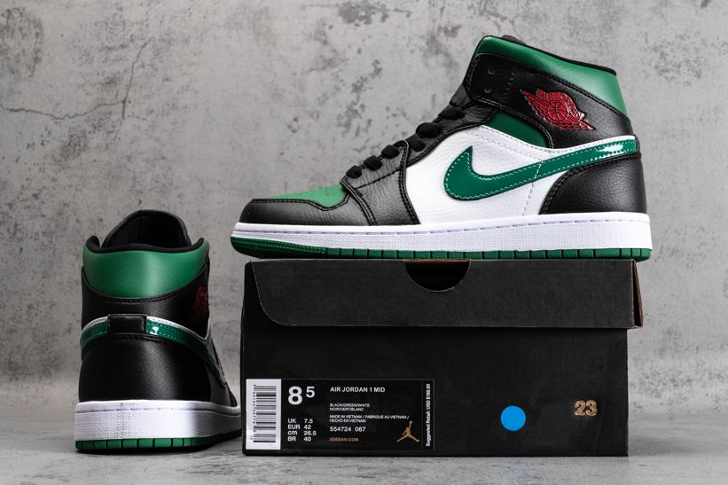 Air Jordan 1 Mid Green Toe 5