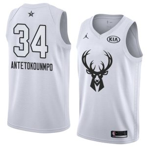 2018 All-Star Bucks Giannis Antetokounmpo #34 White Swingman Jersey