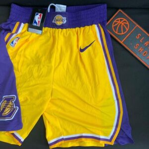 2019 20 NBA Los Angeles Lakers Yellow Icon Swingman Shorts 1
