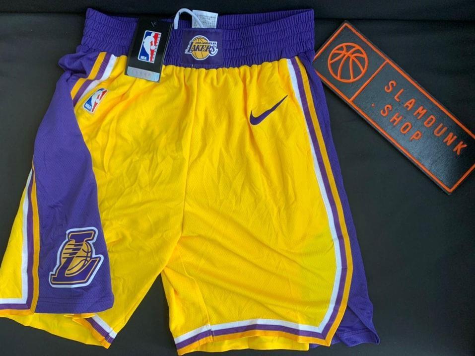 2019 20 NBA Los Angeles Lakers Yellow Icon Swingman Shorts 1