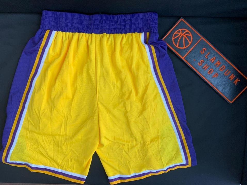 2019 20 NBA Los Angeles Lakers Yellow Icon Swingman Shorts 2