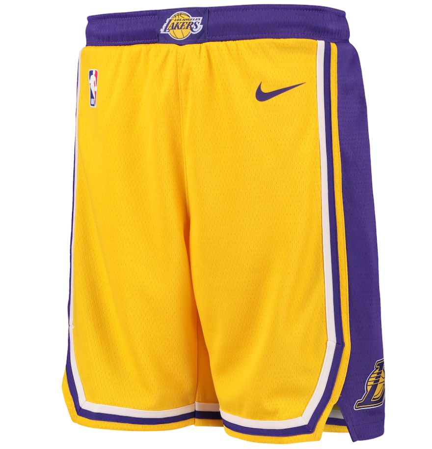 2019-20 NBA Los Angeles Lakers Yellow Icon Swingman Shorts