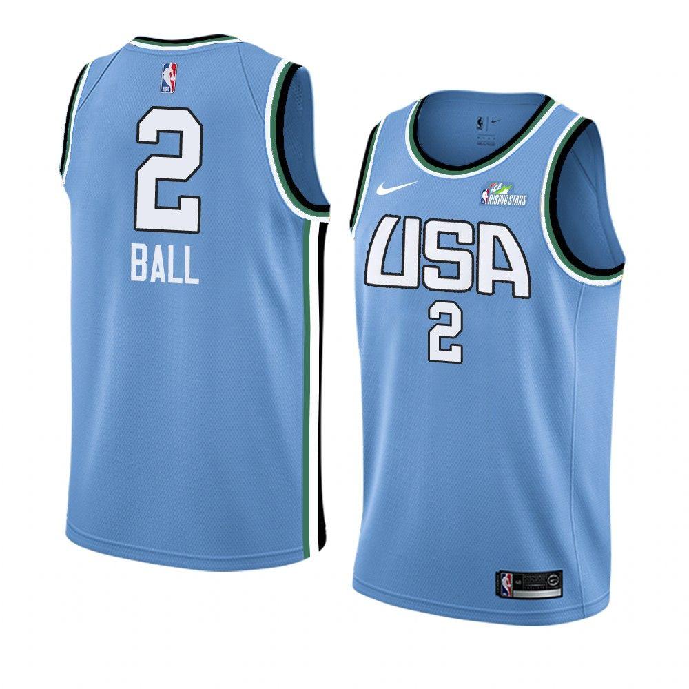 2019 Team World Lonzo Ball #2 NBA Rising Star Blue Swingman
