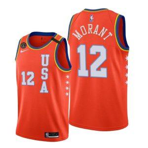 2020 Grizzlies Ja Morant #12 NBA Rising Star USA Team Orange