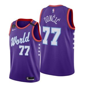 2020 Mavericks Luka Doncic #77 NBA Rising Star World Team Purple Jersey