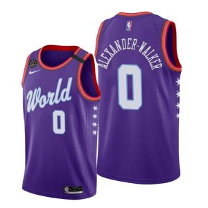 2020 Pelicans Nickeil Alexander-Walker #0 NBA Rising Star World Team Purple Jersey