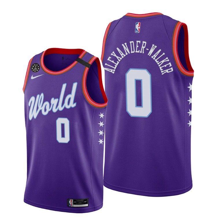 2020 Pelicans Nickeil Alexander-Walker #0 NBA Rising Star World Team Purple Jersey