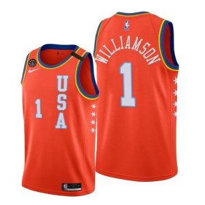 2020 Pelicans Zion Williamson #1 NBA Rising Star USA Team Orange