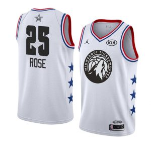 2019 NBA All-Star Timberwolves Derrick Rose #25 White Swingman Jersey
