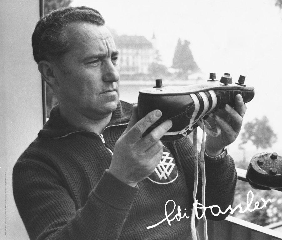 Adi Dassler his trainers shoes and autograph