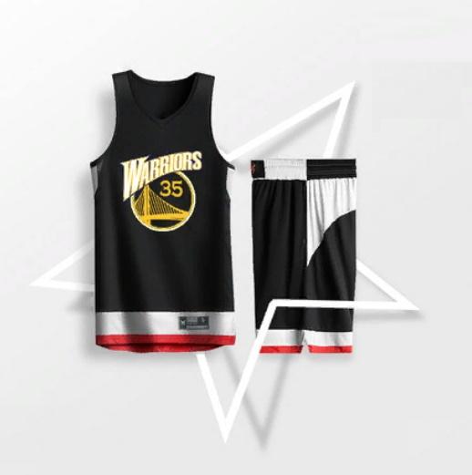 2019 BasketMan Warriors 35 Black Uniform