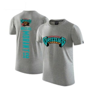 2020 Grizzlies 12 Ja Morant Gray T shirt 1