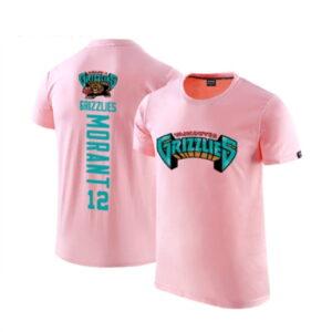 2020 Grizzlies 12 Ja Morant Pink T shirt