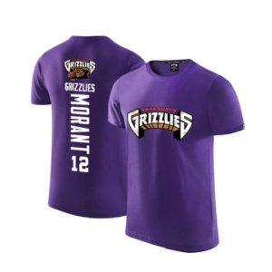 2020 Grizzlies 12 Ja Morant Purple T shirt