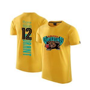 2020 Grizzlies 12 Ja Morant Yellow T shirt 1