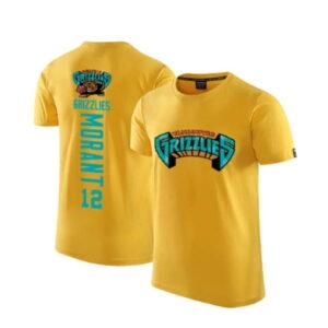 2020 Grizzlies 12 Ja Morant Yellow T shirt