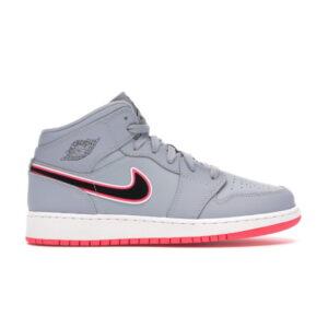 Nike Air Jordan 1 Mid GS Wolf Grey Pink