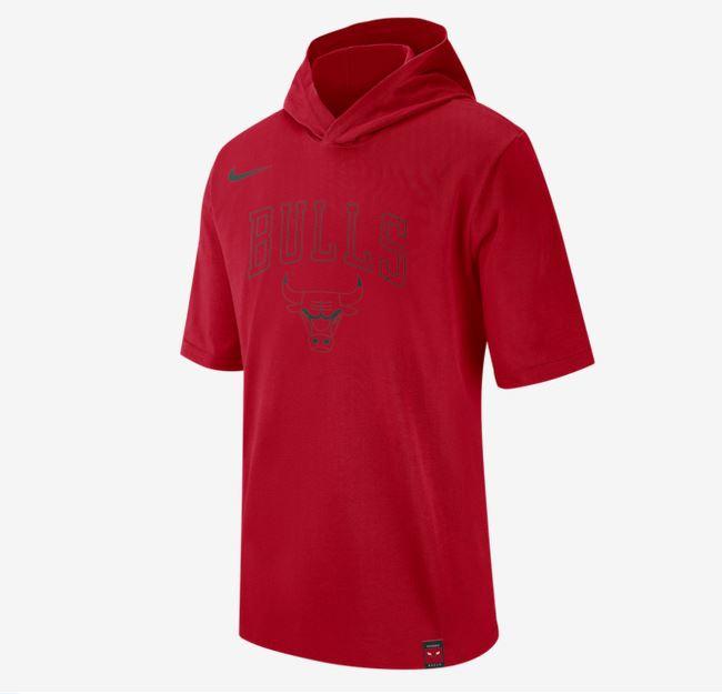 2020 Nike Mens NBA Bulls Hooded T Shirt 1