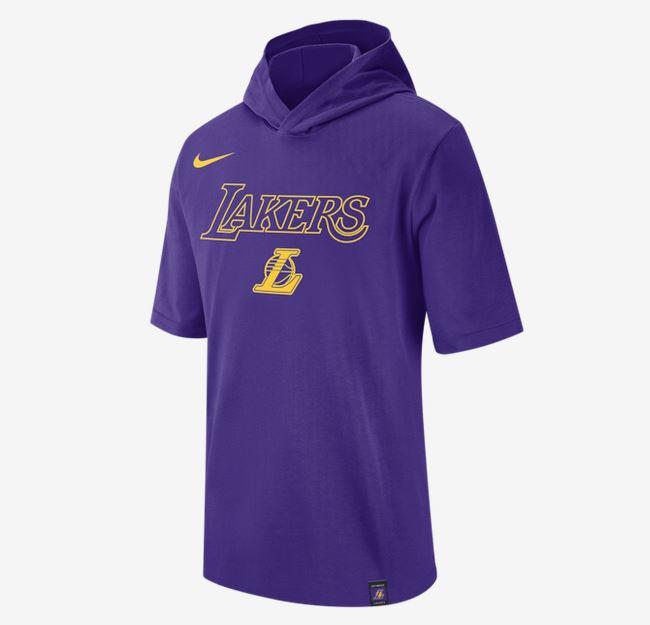 2020 Nike Mens NBA LA Lakers Hooded T Shirt