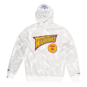Aape x Mitchell Ness Golden State Warriors Hoodie White 1