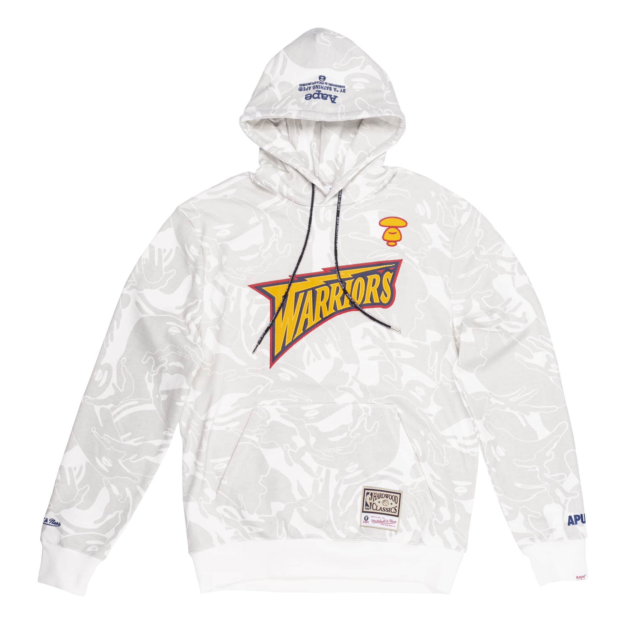 Aape x Mitchell Ness Golden State Warriors Hoodie White