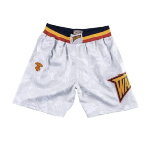Aape x Mitchell Ness Golden State Warriors Shorts White