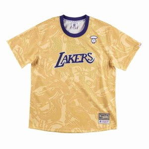 Aape x Mitchell Ness Los Angeles Lakers BP Jersey Gold 1