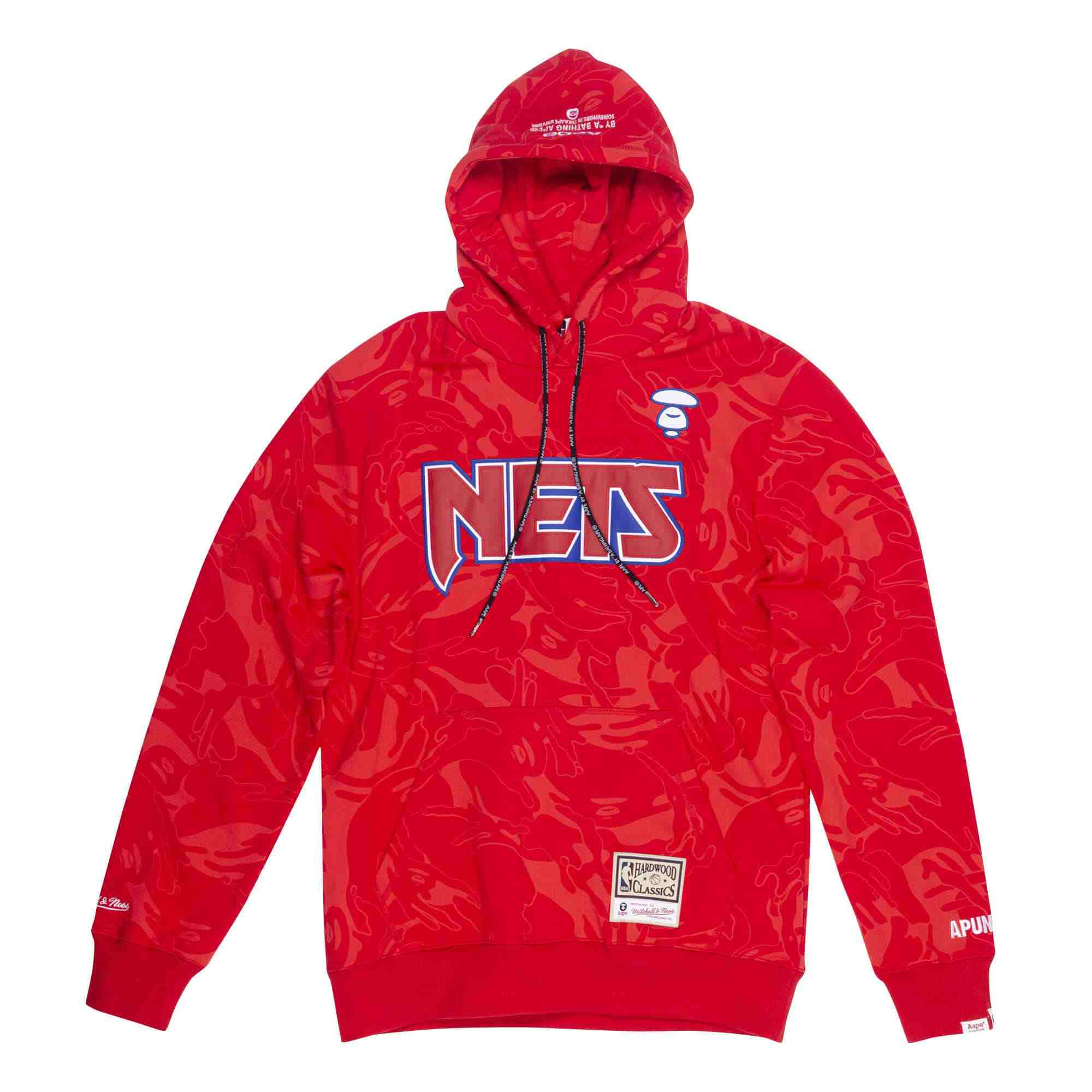 Aape x Mitchell Ness New Jersey Nets Hoodie Red