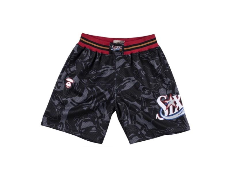Aape x Mitchell Ness Philadelphia 76ers Shorts Black