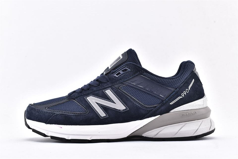 Wmns New Balance 990 Wide Navy Silver 1