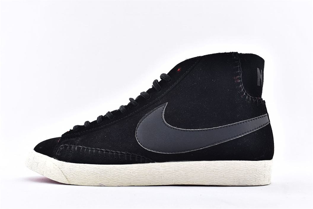 Nike Wmns Blazer Mid Premium Black Action Red 1