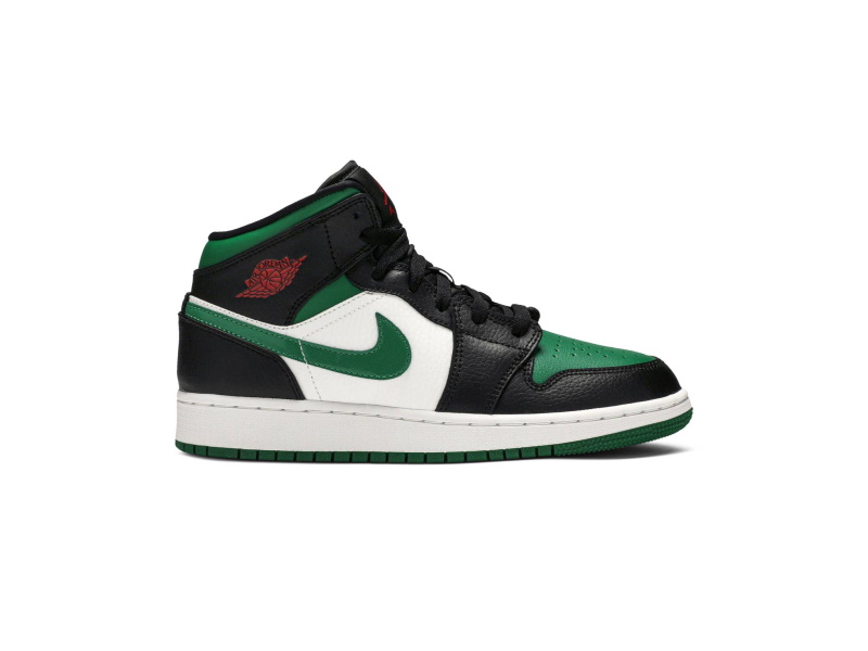 Air Jordan 1 Mid GS Black Pine Green