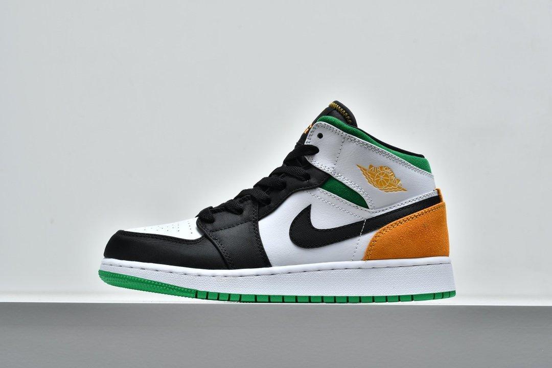 Air Jordan 1 Mid GS Lucky Green Laser Orange 1