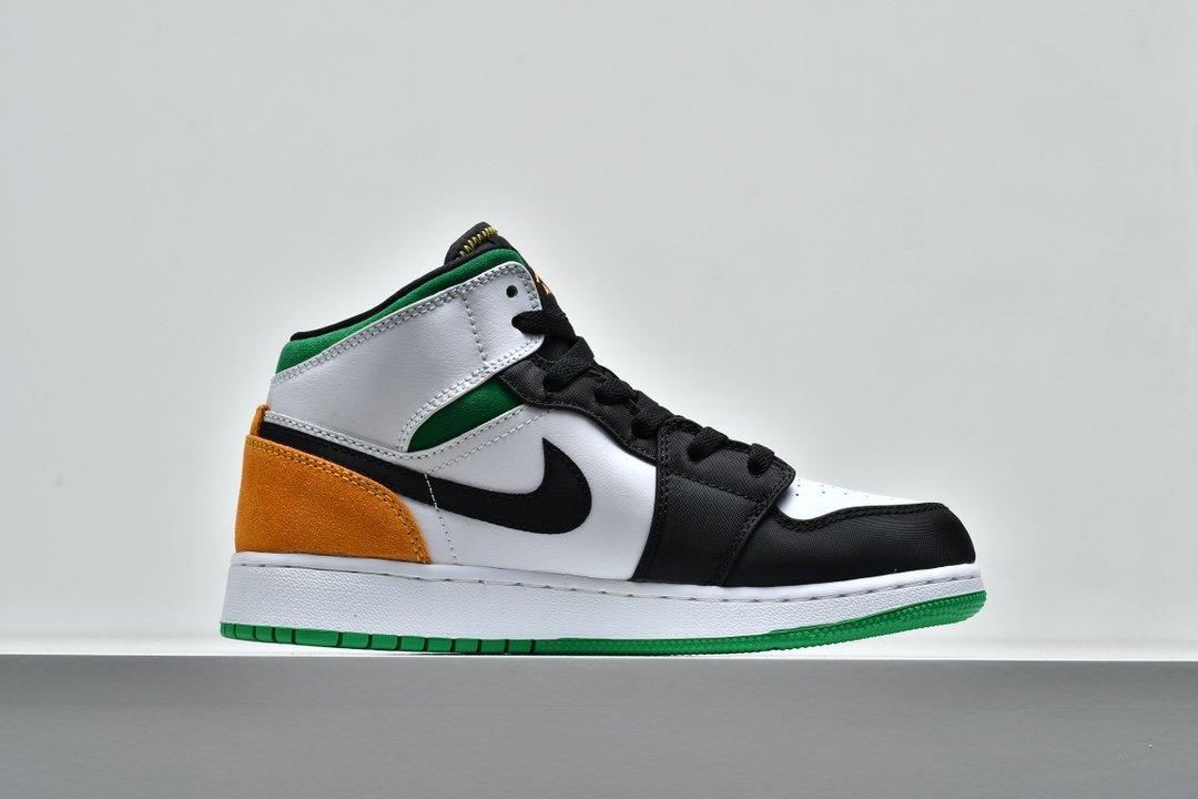 Air Jordan 1 Mid GS Lucky Green Laser Orange 2