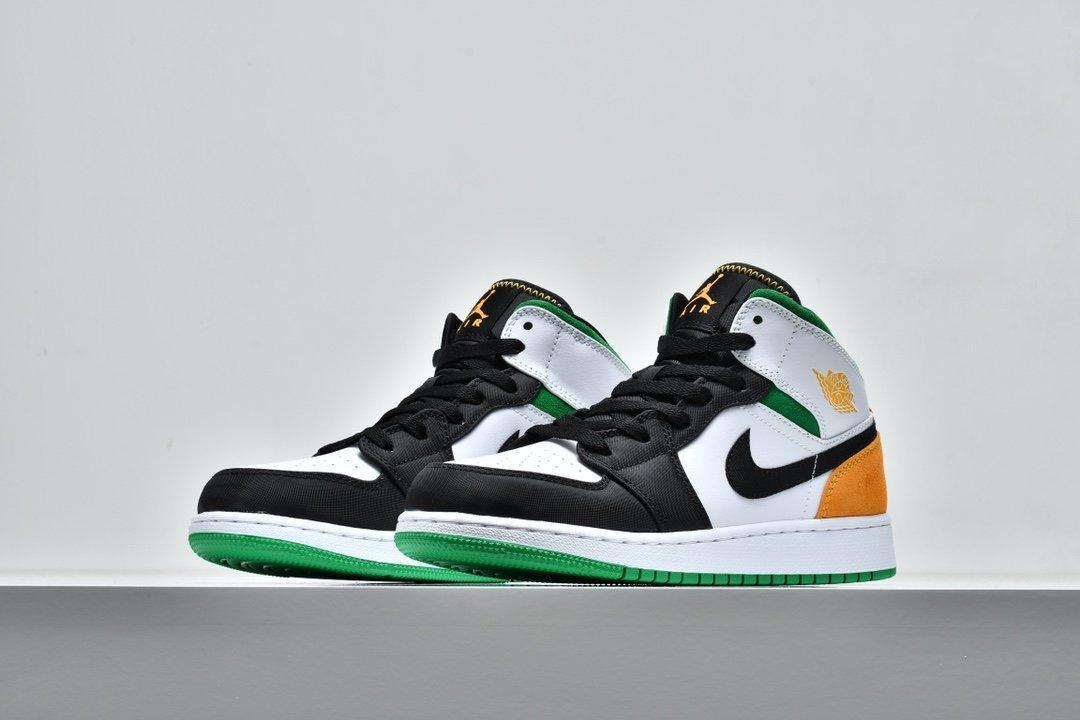 Air Jordan 1 Mid GS Lucky Green Laser Orange 5
