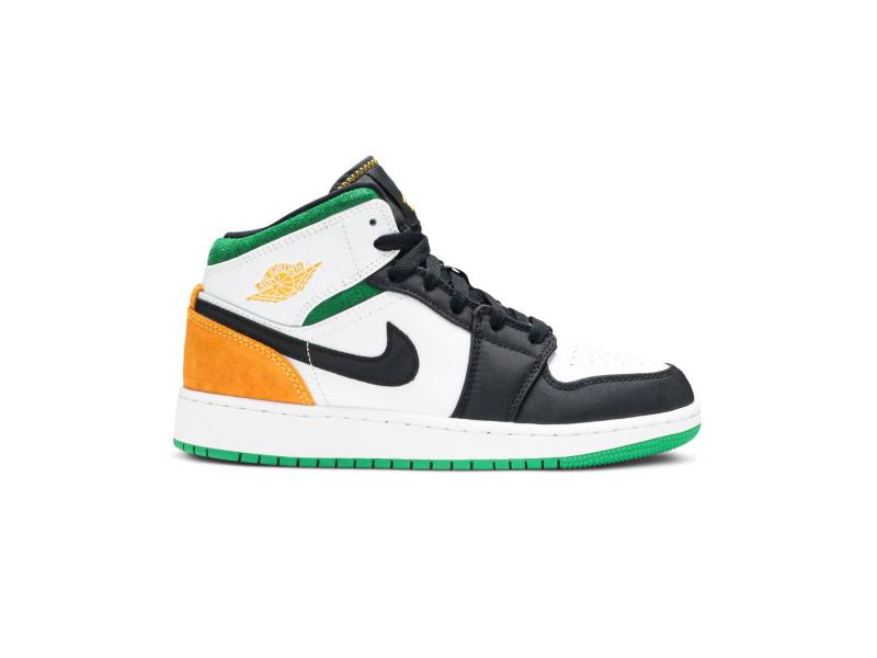 Air Jordan 1 Mid GS Lucky Green Laser Orange