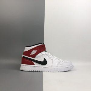 Air Jordan 1 Mid GS White Black Gym Red 1