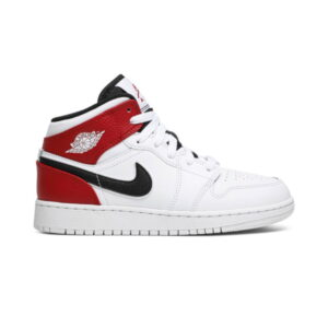 Air Jordan 1 Mid GS White Black Gym Red