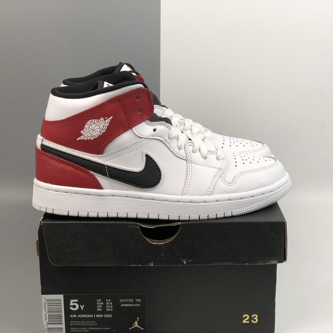 Air Jordan 1 Mid GS White Black Gym Red 5