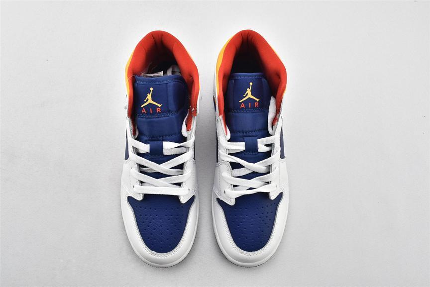 Air Jordan 1 Mid GS White Deep Royal Blue 6