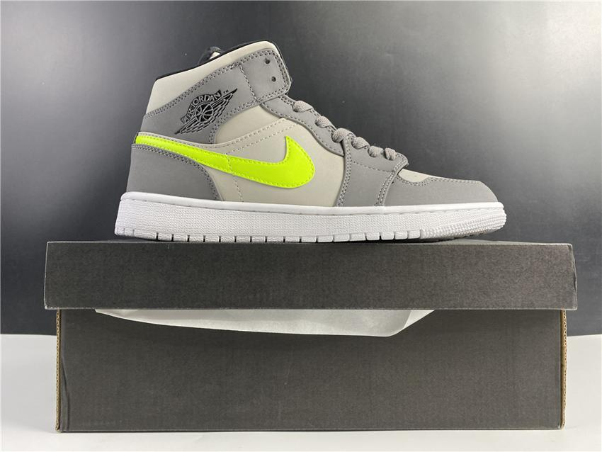Air Jordan 1 Mid Grey Volt 1